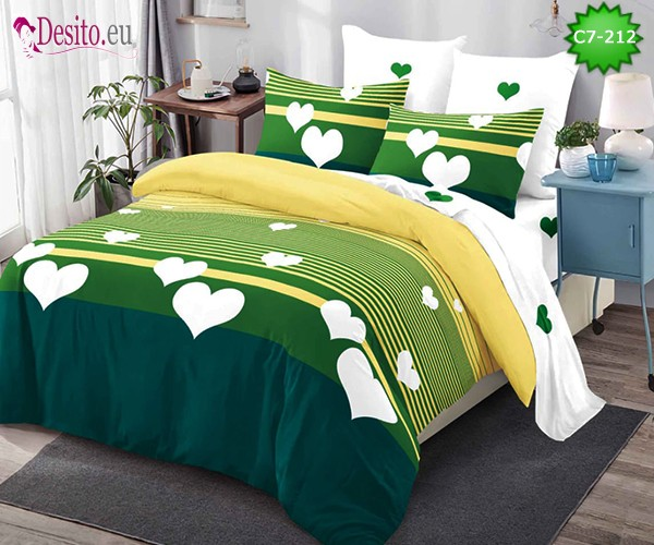 Спално бельо от 100% памук, 6 части - двулицево, с код C7-212
