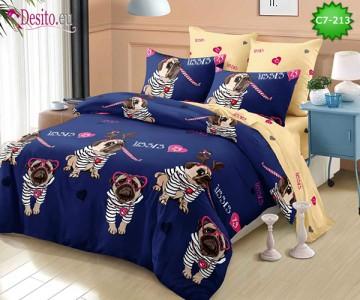 Спално бельо от 100% памук, 6 части - двулицево, с код C7-213