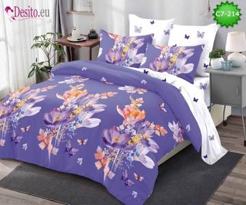Спално бельо от 100% памук, 6 части - двулицево, с код C7-214