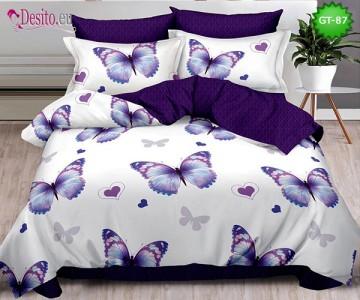 Спално бельо от 100% памук, 6 части и чаршаф с ластик с код GT-87