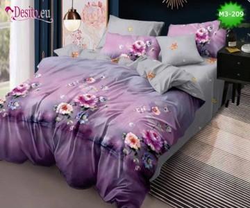 Спално бельо от 100% памук, 6 части, двулицево с код M3-209