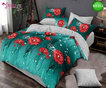Спално бельо от 100% памук, 6 части, двулицево с код M3-212
