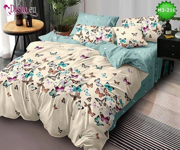Спално бельо от 100% памук, 6 части, двулицево с код M3-216