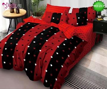 Спално бельо от 100% памук, 6 части, двулицево с код M3-217