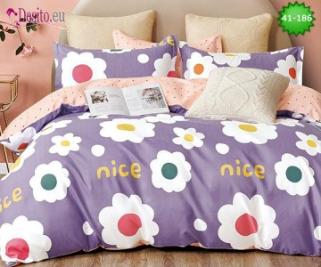 Спално бельо от 100% памук, 6 части - двулицево, с код 41-186