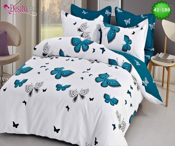 Спално бельо от 100% памук, 6 части - двулицево, с код 41-188