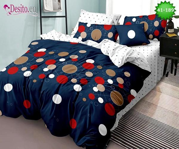 Спално бельо от 100% памук, 6 части - двулицево, с код 41-189