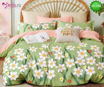 Спално бельо от 100% памук, 6 части - двулицево, с код 41-190