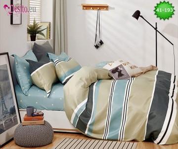 Спално бельо от 100% памук, 6 части - двулицево, с код 41-193