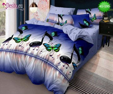 Спално бельо от 100% памук, 6 части - двулицево, с код 41-195