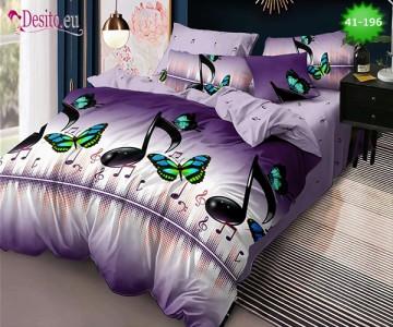Спално бельо от 100% памук, 6 части - двулицево, с код 41-196