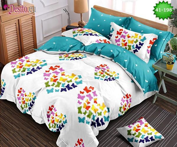 Спално бельо от 100% памук, 6 части - двулицево, с код 41-198