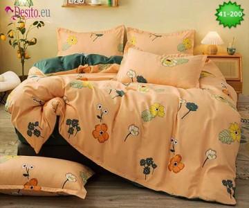 Спално бельо от 100% памук, 6 части - двулицево, с код 41-200