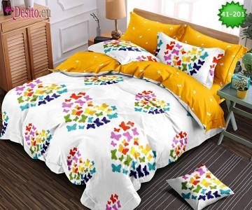 Спално бельо от 100% памук, 6 части - двулицево, с код 41-201