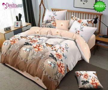 Спално бельо от 100% памук, 6 части, двулицево с код M3-221
