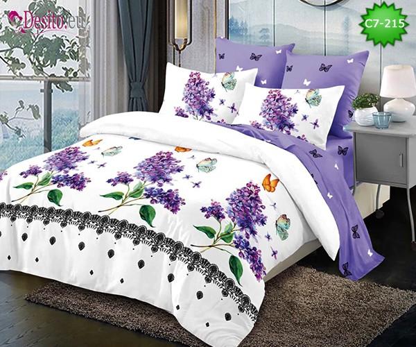 Спално бельо от 100% памук, 6 части - двулицево, с код C7-215
