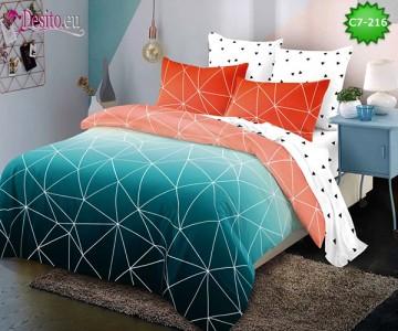Спално бельо от 100% памук, 6 части - двулицево, с код C7-216
