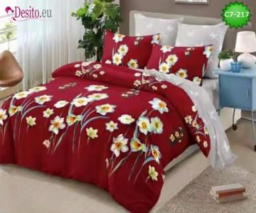 Спално бельо от 100% памук, 6 части - двулицево, с код C7-217