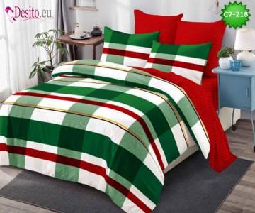 Спално бельо от 100% памук, 6 части - двулицево, с код C7-218
