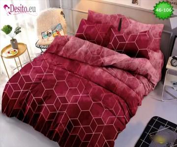 Спално бельо от 100% памук, 6 части - двулицево, с код 46-106