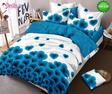 Спално бельо от 100% памук, 6 части, двулицево с код M3-230