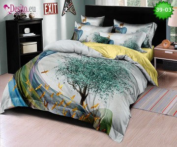 Спално бельо от 100% памук, 6 части - двулицево, с код 39-03