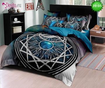 Спално бельо от 100% памук, 6 части - двулицево, с код 39-05