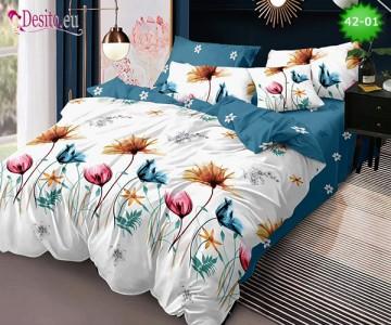 Спално бельо от 100% памук, 6 части и чаршаф с ластик с код 42-01