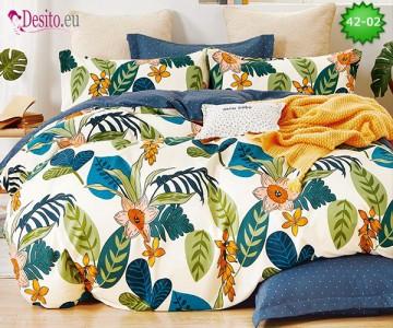 Спално бельо от 100% памук, 6 части и чаршаф с ластик с код 42-02