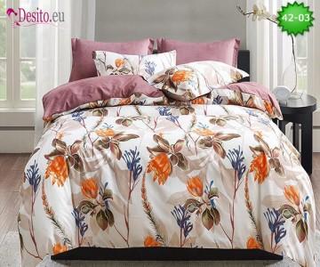 Спално бельо от 100% памук, 6 части и чаршаф с ластик с код 42-03