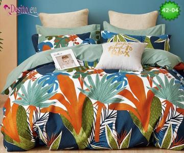 Спално бельо от 100% памук, 6 части и чаршаф с ластик с код 42-04