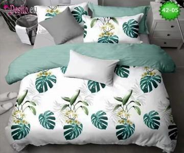 Спално бельо от 100% памук, 6 части и чаршаф с ластик с код 42-05