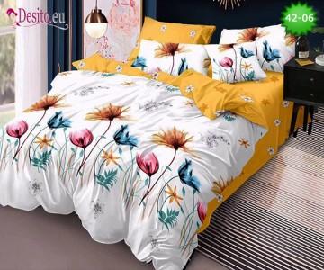 Спално бельо от 100% памук, 6 части и чаршаф с ластик с код 42-06