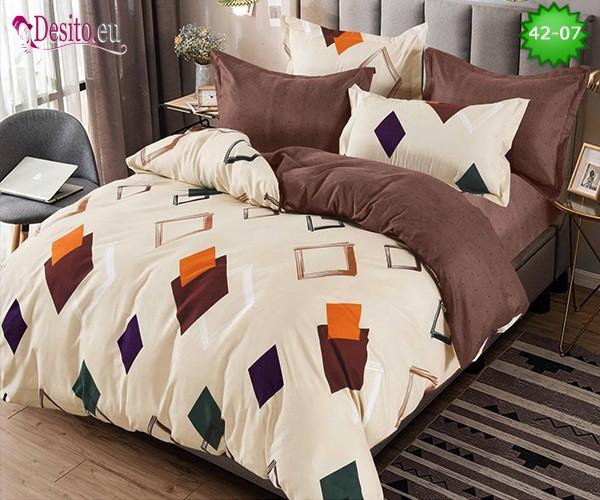 Спално бельо от 100% памук, 6 части и чаршаф с ластик с код 42-07