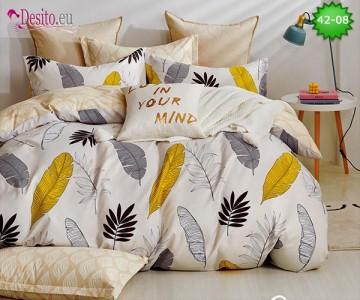 Спално бельо от 100% памук, 6 части и чаршаф с ластик с код 42-08