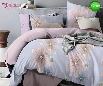 Спално бельо от 100% памук, 6 части и чаршаф с ластик с код 42-09