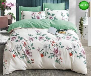 Спално бельо от 100% памук, 6 части и чаршаф с ластик с код 42-10