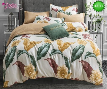 Спално бельо от 100% памук, 6 части и чаршаф с ластик с код 42-11