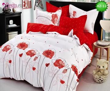 Спално бельо от 100% памук, 6 части и чаршаф с ластик с код 42-12