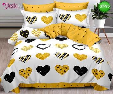 Спално бельо от 100% памук, 6 части и чаршаф с ластик с код GT-90
