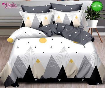 Спално бельо от 100% памук, 6 части и чаршаф с ластик с код GT-91