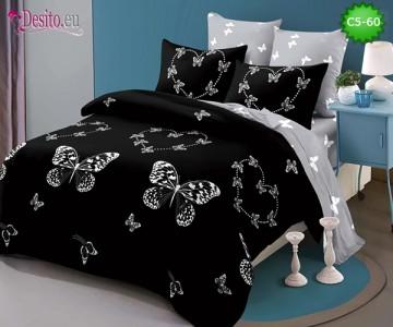 Спално бельо от 100% памук, 6 части и чаршаф с ластик с код C5-60
