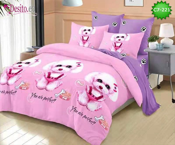 Спално бельо от 100% памук, 6 части - двулицево, с код C7-221