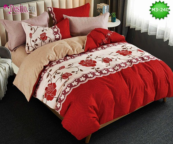 Спално бельо от 100% памук, 6 части, двулицево с код M3-240