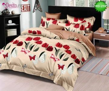 Спално бельо от 100% памук, 6 части, двулицево с код M3-259