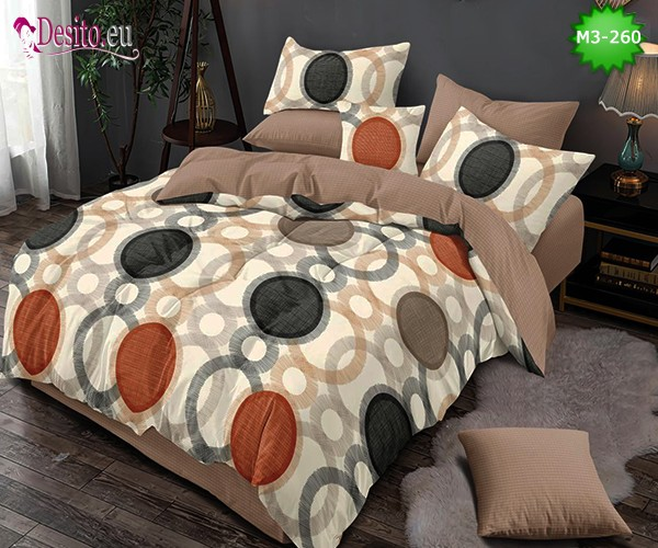 Спално бельо от 100% памук, 6 части, двулицево с код M3-260