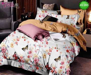 Спално бельо от 100% памук, 6 части - двулицево, с код 41-203