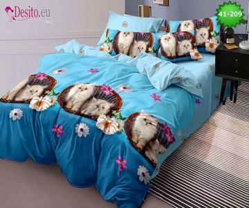 Спално бельо от 100% памук, 6 части - двулицево, с код 41-209