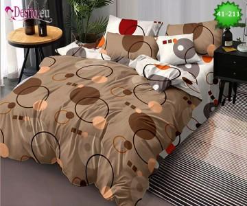 Спално бельо от 100% памук, 6 части - двулицево, с код 41-211