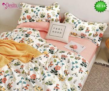 Спално бельо от 100% памук, 6 части и чаршаф с ластик с код 42-14